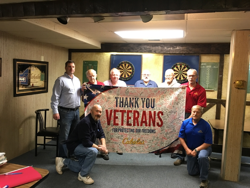 Banner presented to VFW Post 2083 by Cabela's