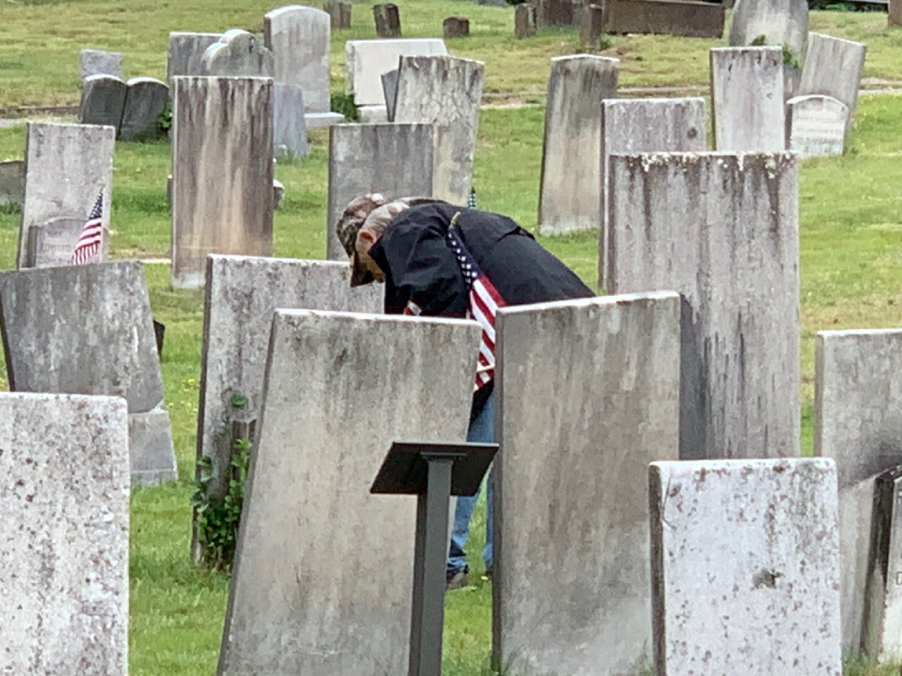 Flags at Center Cemetery on 23 May 2020